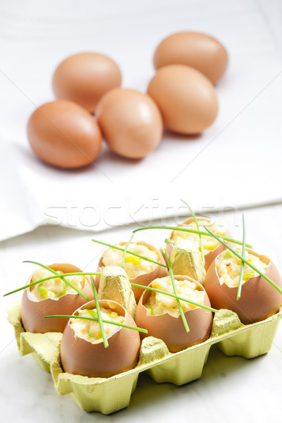 scrambled eggs with chives Stock photo © phbcz