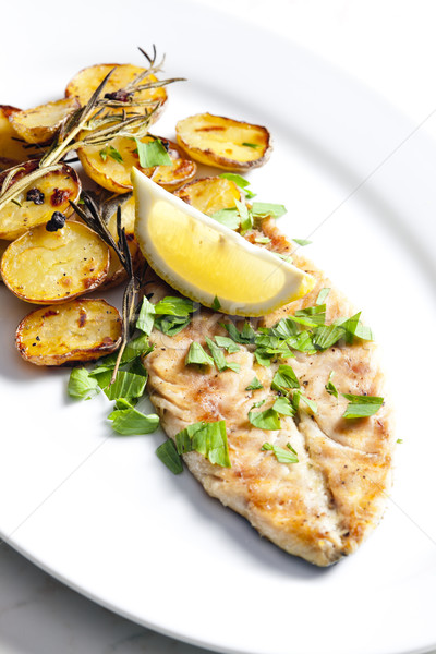 grilled mackerel with roasted potatoes Stock photo © phbcz