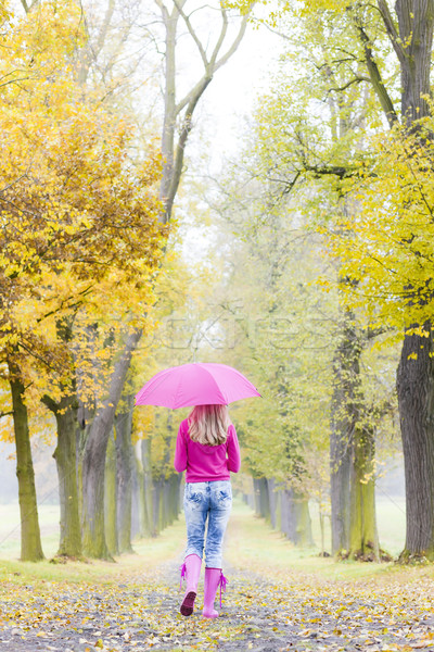 Stock photo: woman wearing rubber boots with umbrella in autumnal alley