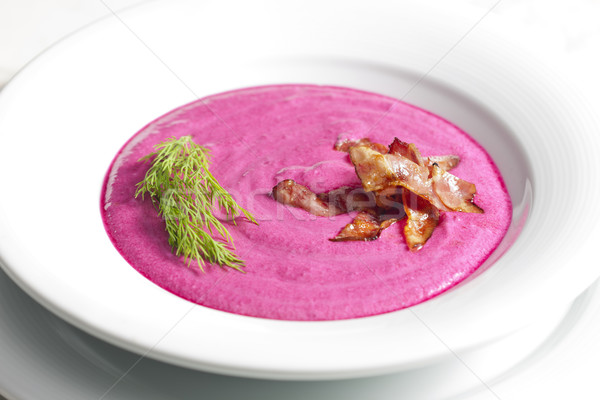 mixed red beet soup with cream Stock photo © phbcz