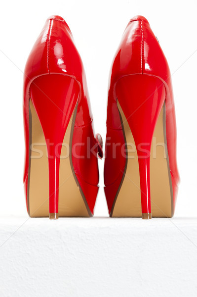 Rouge chaussures style objet paire symbole Photo stock © phbcz
