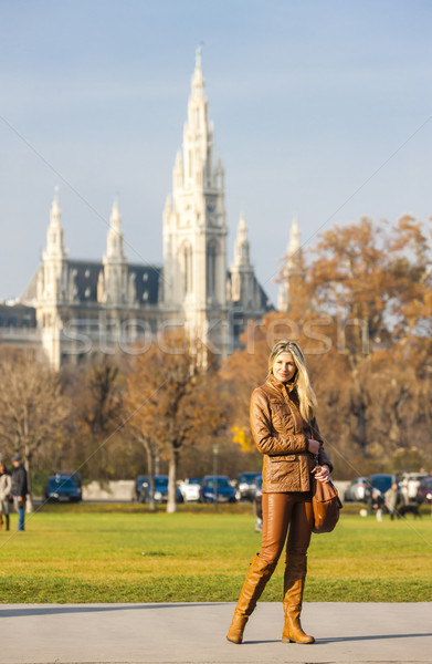 woman in the city and city hall of Vienna at background, Austria Stock photo © phbcz