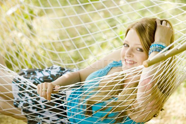 Nő pihen függőágy fiatal egyedül fiatalság Stock fotó © phbcz