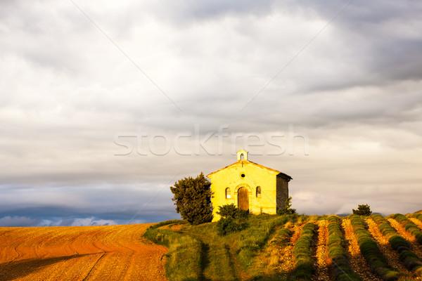 Kapel lavendel veld plateau gebouw architectuur Europa Stockfoto © phbcz