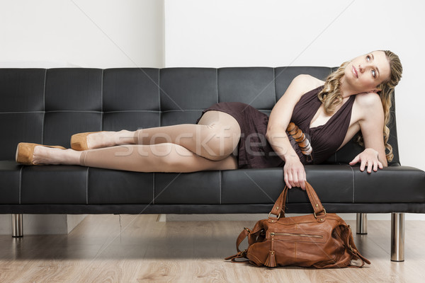女性 着用 ハンドバッグ ソファ 靴 人 ストックフォト © phbcz