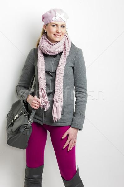 портрет женщину зима одежды сумочка Сток-фото © phbcz