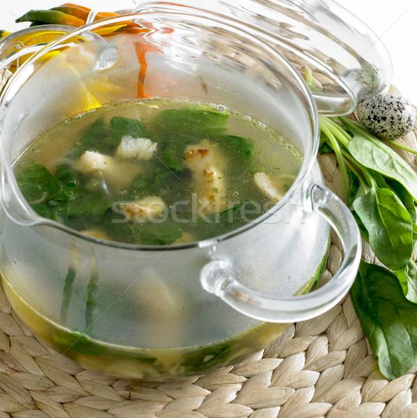 Сток-фото: шпинат · суп · белый · рыбы · продовольствие · пластина