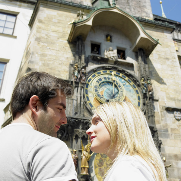 couple in Prague, Horloge, Old Town Hall, Czech Republic Stock photo © phbcz