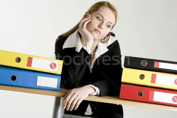 Mujer de negocios carpetas mujer trabajo traje de trabajo Foto stock © phbcz