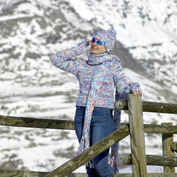 woman in winter mountains Stock photo © phbcz