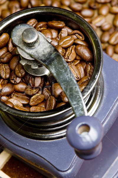 detail of coffee mill with coffee beans Stock photo © phbcz