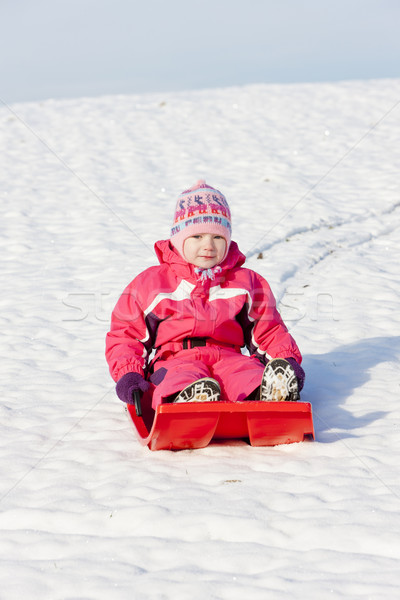 little girl with bob in snow Stock photo © phbcz