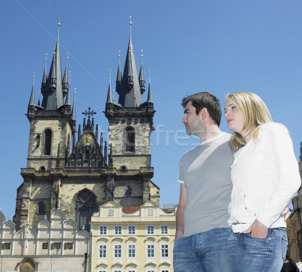 couple in Prague, Tynsky church, Old Town Square, Czech Republic Stock photo © phbcz