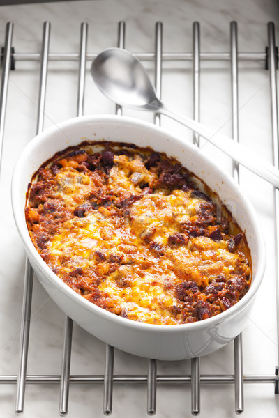 мексиканских смесь моцарелла мяса ложку Сток-фото © phbcz