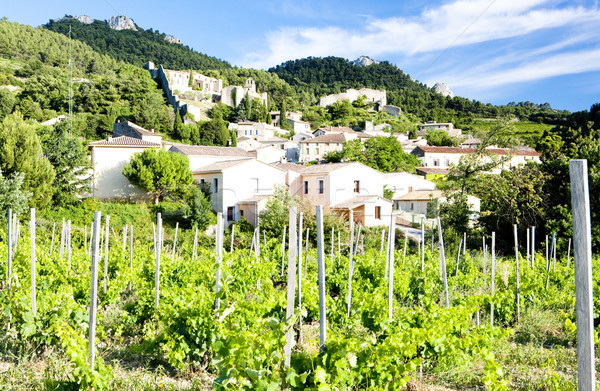 Gigondas with vineyard, Provence, France Stock photo © phbcz