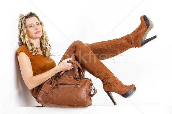 ül nő visel barna ruházat csizma Stock fotó © phbcz