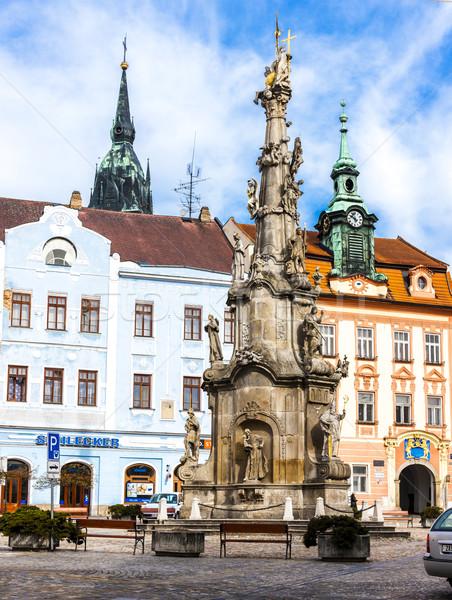 Column of Holy Trinity, Namesti Miru, Jindrichuv Hradec, Czech R Stock photo © phbcz