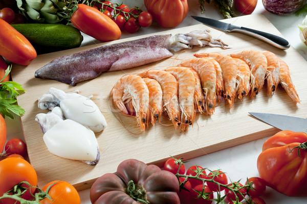 натюрморт сырой морепродуктов овощей продовольствие томатный Сток-фото © phbcz