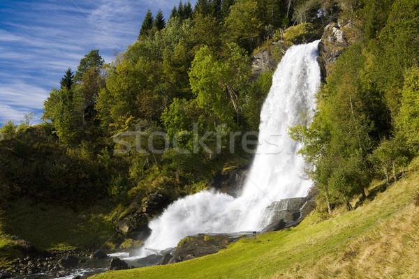 Vízesés Norvégia víz tájképek ősz folyam Stock fotó © phbcz