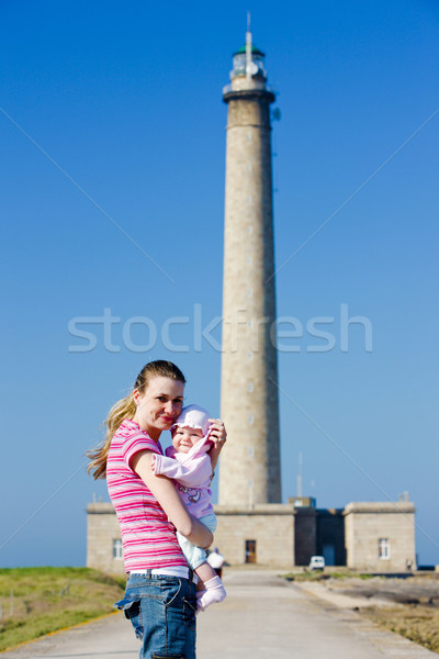 tourists in front of lighthouse, Gatteville, Normandy, France Stock photo © phbcz