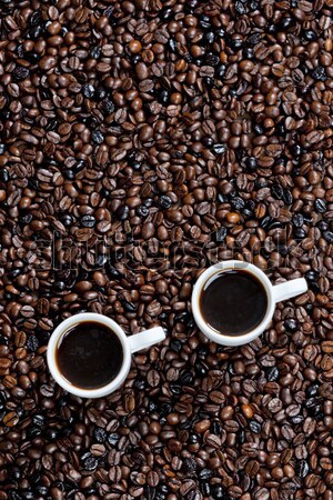 still life of coffee cups and coffee beans Stock photo © phbcz