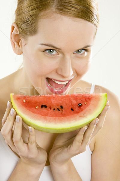Ritratto donna melone salute frutti giovani Foto d'archivio © phbcz