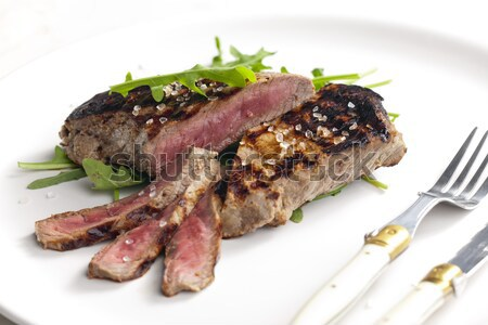 A la parrilla bistec mostaza placa cuchillo filete Foto stock © phbcz