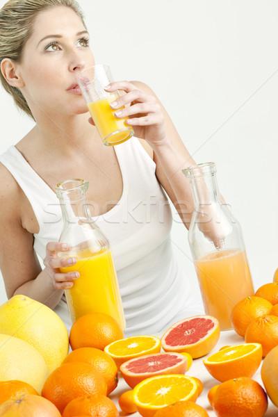 肖像 若い女性 かんきつ類の果実 オレンジジュース 食品 女性 ストックフォト © phbcz