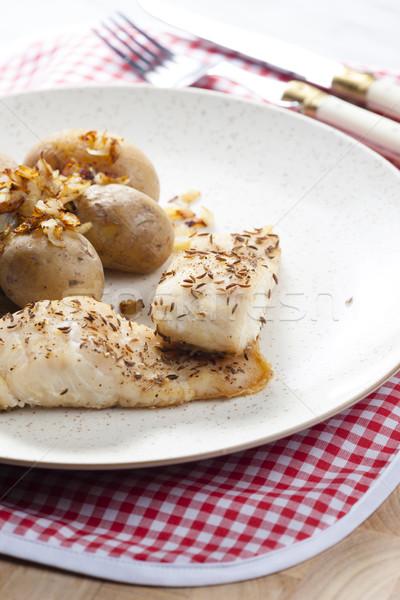 Kömény hal tányér villa zöldség krumpli Stock fotó © phbcz
