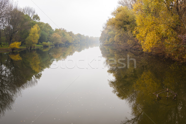 Small Danube river in autumn, Slovakia Stock photo © phbcz
