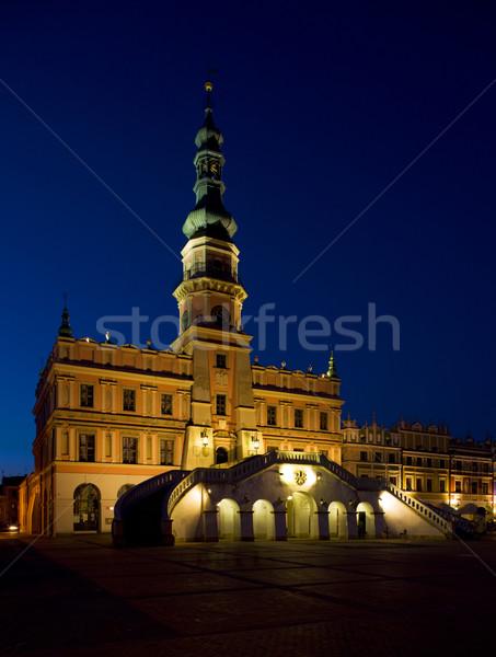 Stadhuis nacht hoofd- vierkante Polen licht Stockfoto © phbcz