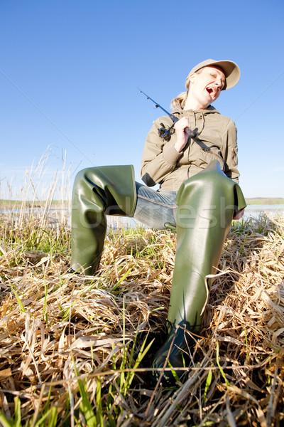 fishing woman Stock photo © phbcz