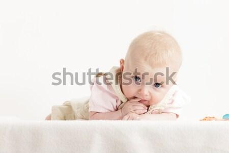 портрет четыре месяцев старые девушки Сток-фото © phbcz
