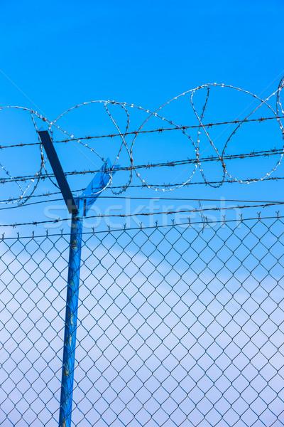 Drótok repülőtér tárgy szögesdrót kint szimbólum Stock fotó © phbcz