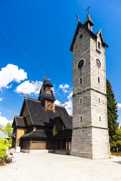 Kerk Polen architectuur toren buitenshuis buiten Stockfoto © phbcz