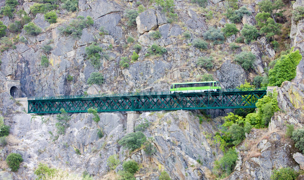 engine coach on railway viaduct near Tua, Douro Valley, Portugal Stock photo © phbcz