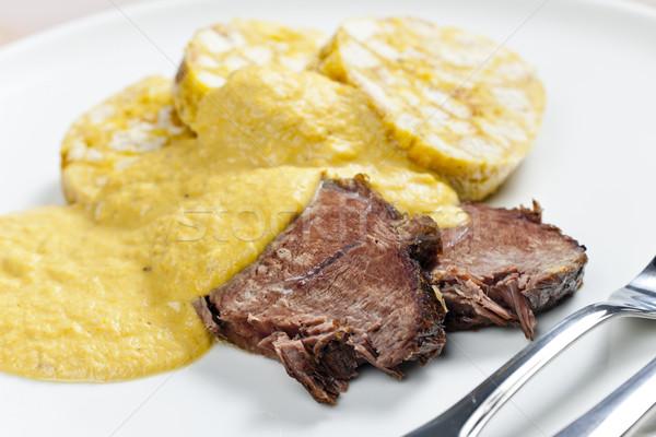 Lendenen room plaat vlees maaltijd schotel Stockfoto © phbcz