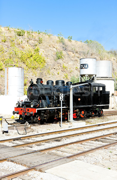 steam locomotive at railway station in Tua, Douro Valley, Portug Stock photo © phbcz