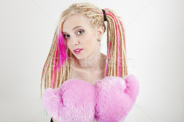 portrait of young woman with dreadlocks and boxing gloves Stock photo © phbcz