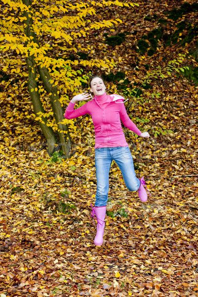 woman in autumnal nature Stock photo © phbcz