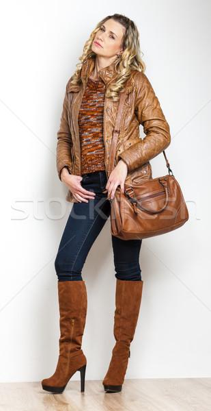 Stałego kobieta dżinsy torebka osoby Zdjęcia stock © phbcz