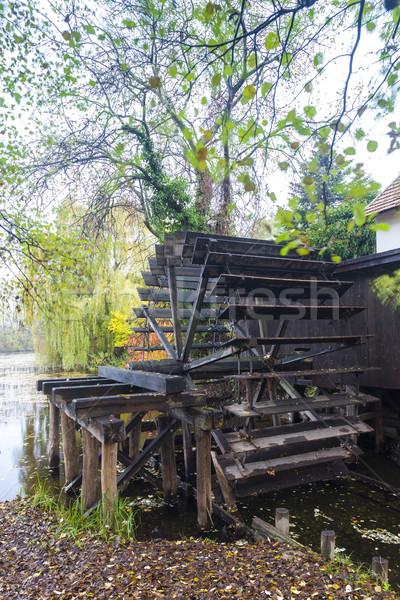 Su değirmen Slovakya sonbahar mimari tekerlek Stok fotoğraf © phbcz