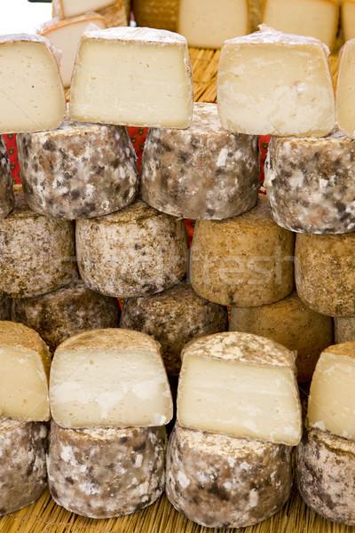cheese, street market in Castellane, Provence, France Stock photo © phbcz