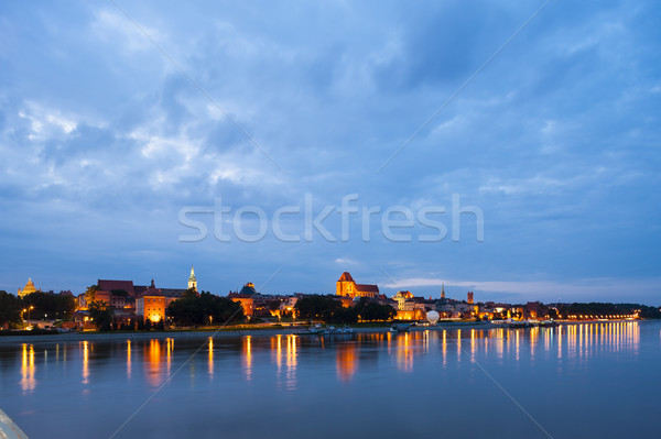 Vieille ville nuit Pologne bâtiment Voyage rivière Photo stock © phbcz