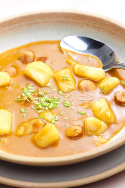 Frankfurt soep groenten lepel plantaardige aardappel Stockfoto © phbcz
