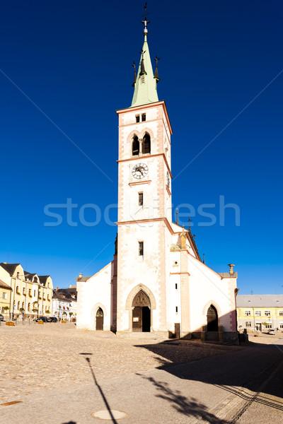 Tsjechische Republiek huis kerk architectuur Europa stad Stockfoto © phbcz