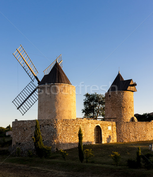windmills in Regusse, France Stock photo © phbcz