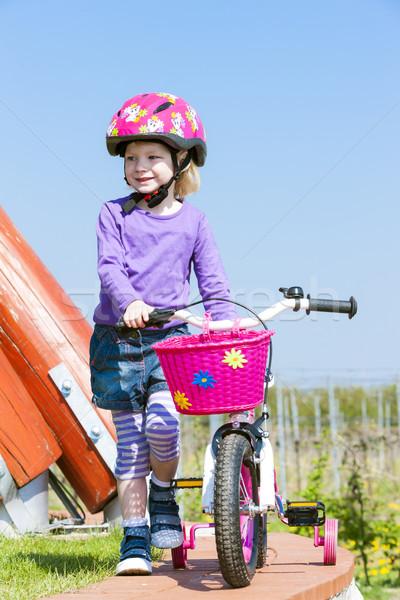 Kicsi motoros lány tavasz sport gyermek Stock fotó © phbcz