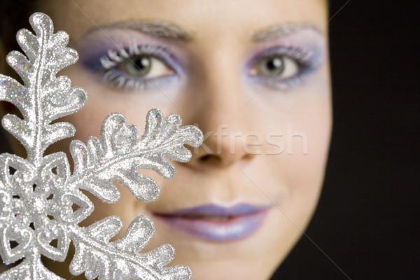 Stok fotoğraf: Portre · kadın · kar · tanesi · güzellik · genç · tek · başına