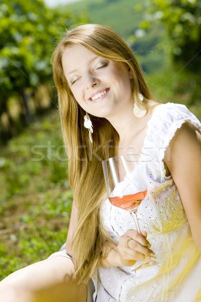Mujer picnic vina vino gafas jóvenes Foto stock © phbcz